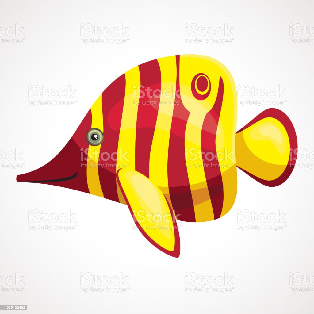 Yellow Aquarium Soap Cartoon Fish Vector Drawing Stock Vector Art
