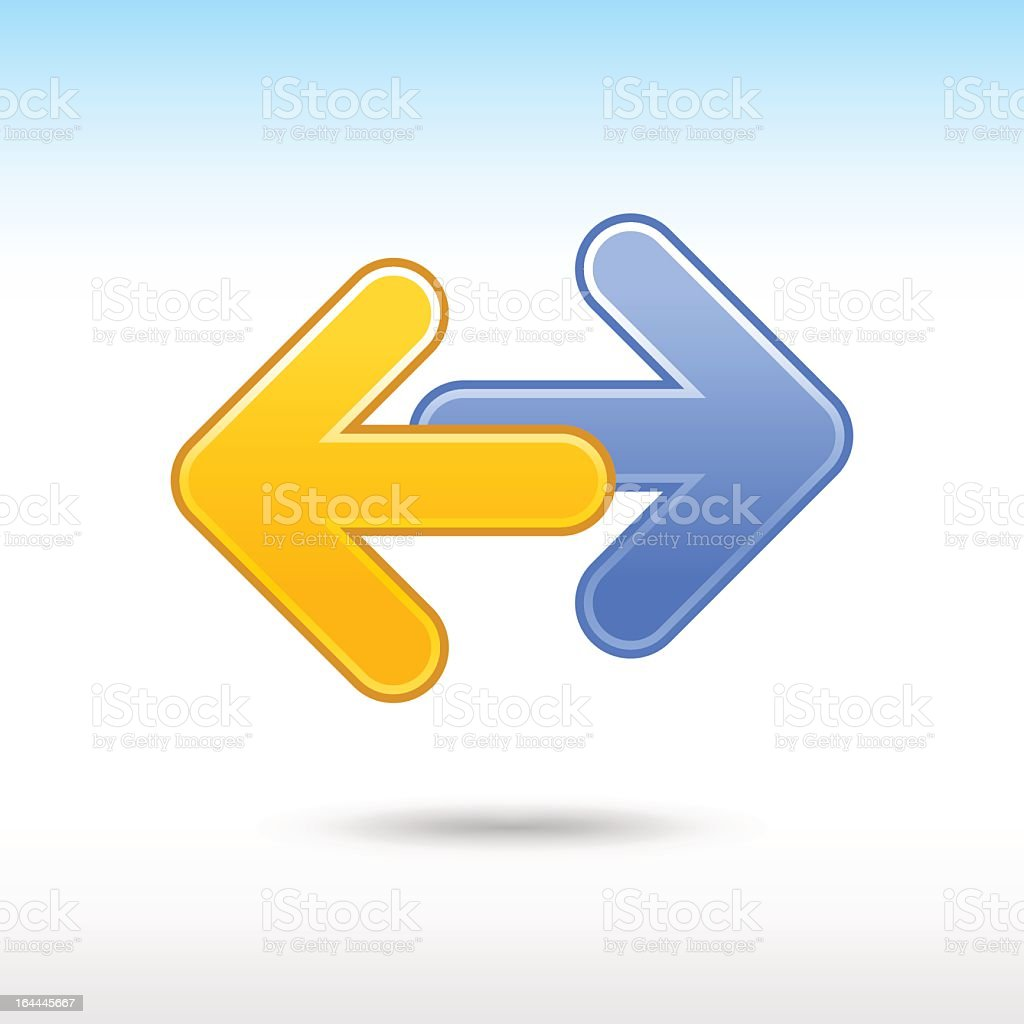 Yellow arrow pointing left and blue arrow pointing right vector art illustration
