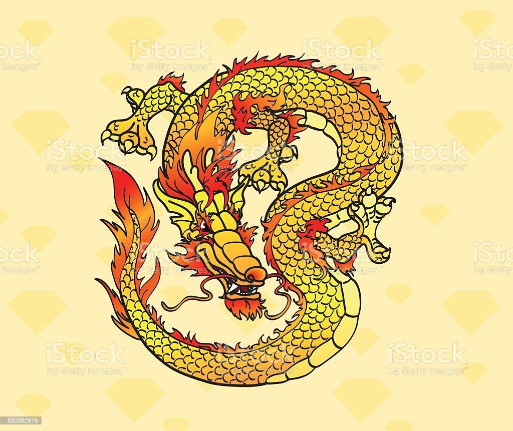 Желтый азиатские дракона с кристаллами векторная иллюстрация