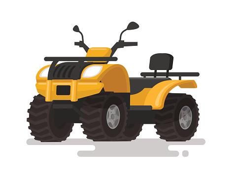 Yellow ATV. Four-wheel all-terrain vehicle. Quad bike