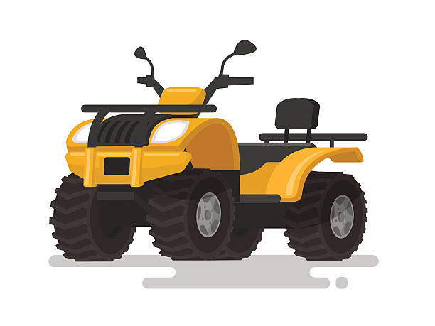 Yellow ATV. Four-wheel all-terrain vehicle. Quad bike Yellow ATV. Four-wheel all-terrain vehicle. Quad bike on the isolated background. Vector illustration quadbike stock illustrations