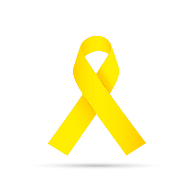 Yellow awareness ribbon on gray background. Bone cancer and troops support symbol. vector art illustration