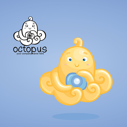 Yellow baby octopus with a camera on blue background.
