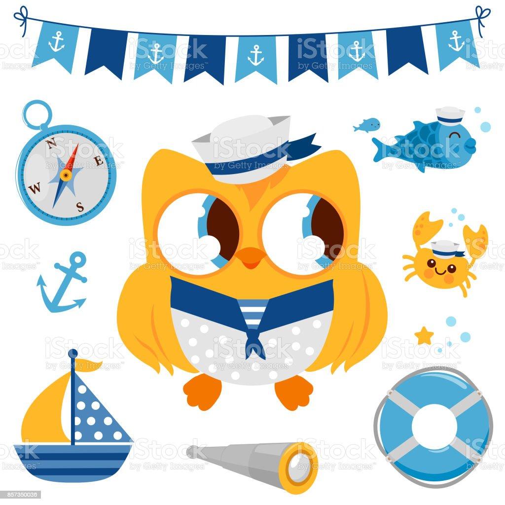 Yellow baby sailor owl marine nautical set vector art illustration