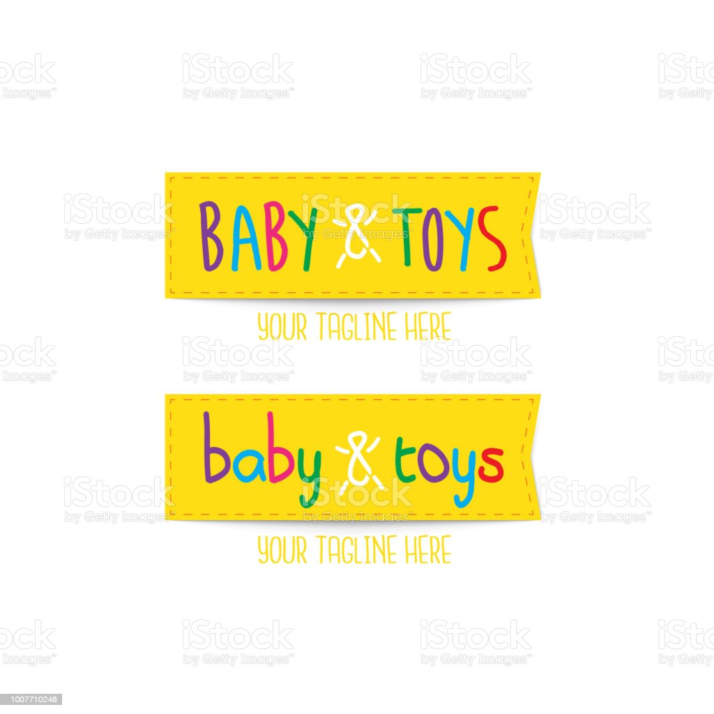 Yellow Baby Toys Colourful Fun Vector Logo Template Tag Style Logo
