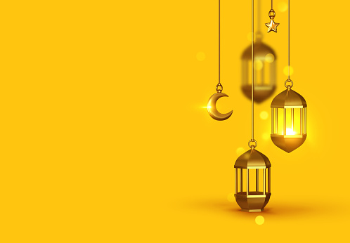 Yellow Background 3d design is arabian vintage decorative hanging lamp are on fire. Decoration light lantern, gold stars on ribbon and golden crescent moon.