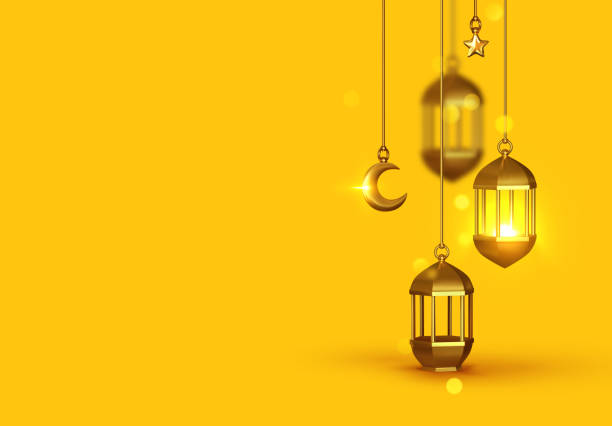 Yellow Background 3d design is arabian vintage decorative hanging lamp are on fire. Decoration light lantern, gold stars on ribbon and golden crescent moon. Yellow Background 3d design is arabian vintage decorative hanging lamp are on fire. Decoration light lantern, gold stars on ribbon and golden crescent moon. ramadan stock illustrations
