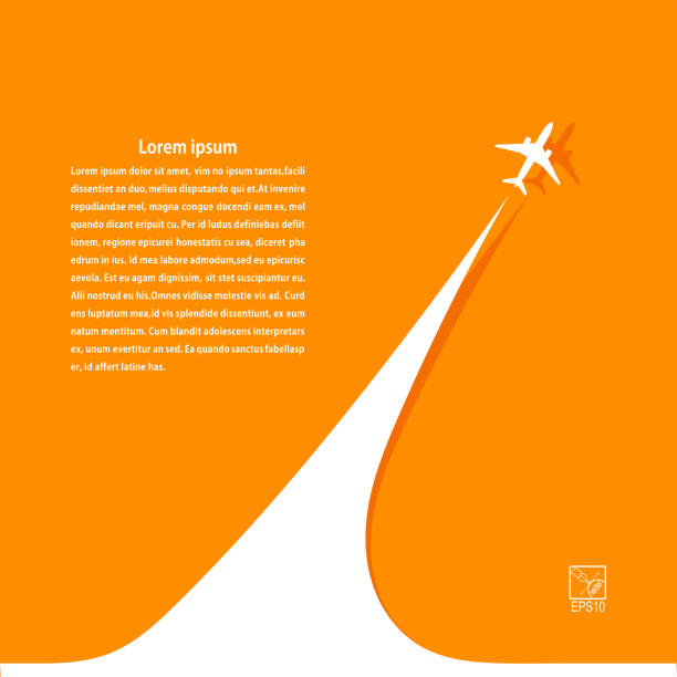 Yellow background with airplane and its tracks. Banner design Yellow background with airplane and its tracks. Banner design for your airline. Vector illustration. airport backgrounds stock illustrations