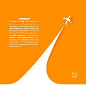 Yellow background with airplane and its tracks. Banner design