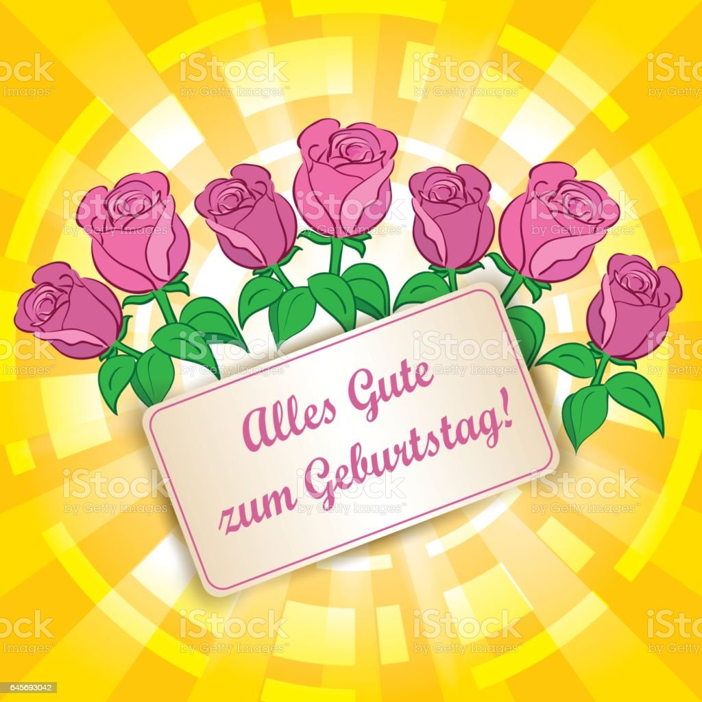 yellow background with roses alles gute zum geburtstag. Black Bedroom Furniture Sets. Home Design Ideas