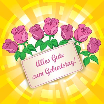 yellow background with roses - Happy birthday - Happy birthday