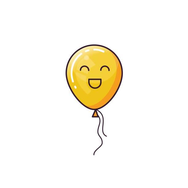 illustrations, cliparts, dessins animés et icônes de ballon jaune isolé sur fond blanc. - ballon anniversaire smiley