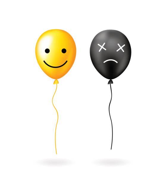 illustrations, cliparts, dessins animés et icônes de ballon jaune avec sourire visage positif et ballon noir avec une face négative. - ballon anniversaire smiley