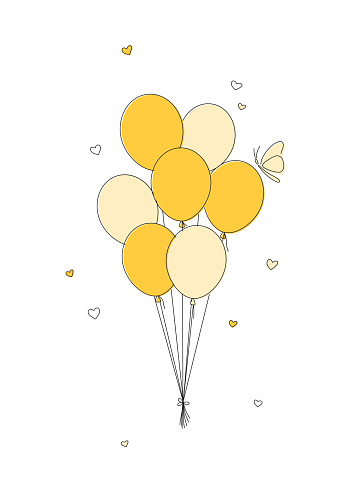 Yellow balloons with little hearts in doodle style isolated on a white background.