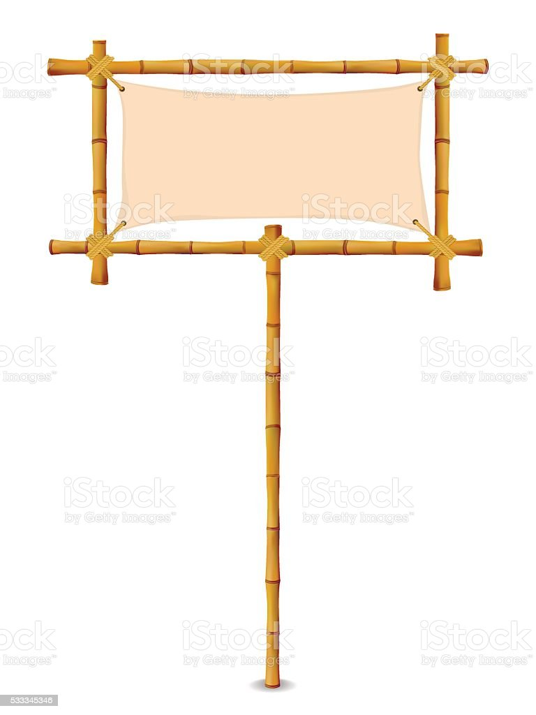 Yellow Bamboo Frame vector art illustration