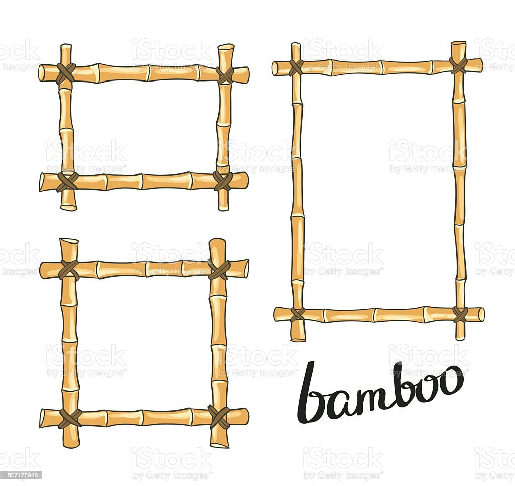 Gelbe Bambus-Rahmen. Vektor-illustration. – Vektorgrafik