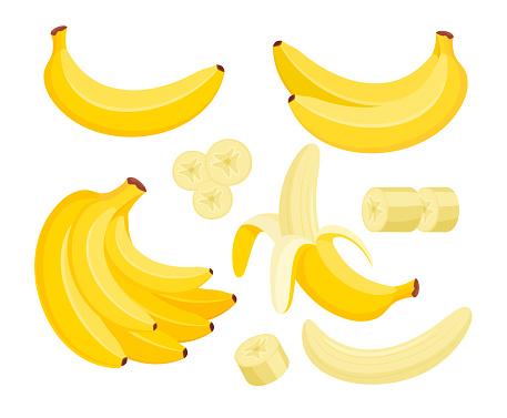 Yellow banana colorful flat vector illustrations set