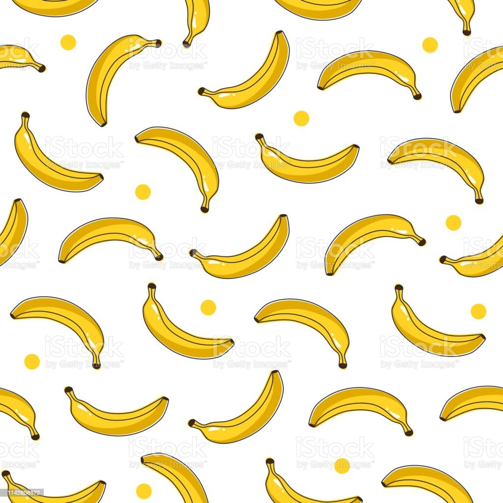 Yellow Bananas On White Background Seamless Pattern Cartoon