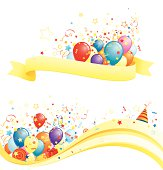 Yellow banners with ribbons and colorful balloons.