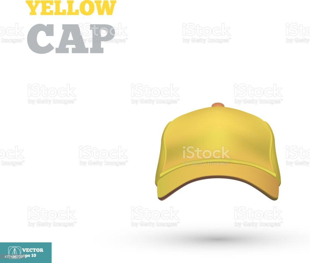 黄色のベースボールキャップテンプレート フロントの眺めをご覧いただけ