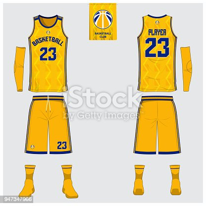 Yellow Basketball jersey or sport uniform template design for basketball club. Front and back view sport t-shirt design. Tank top t-shirt mock up with basketball flat   design. Vector