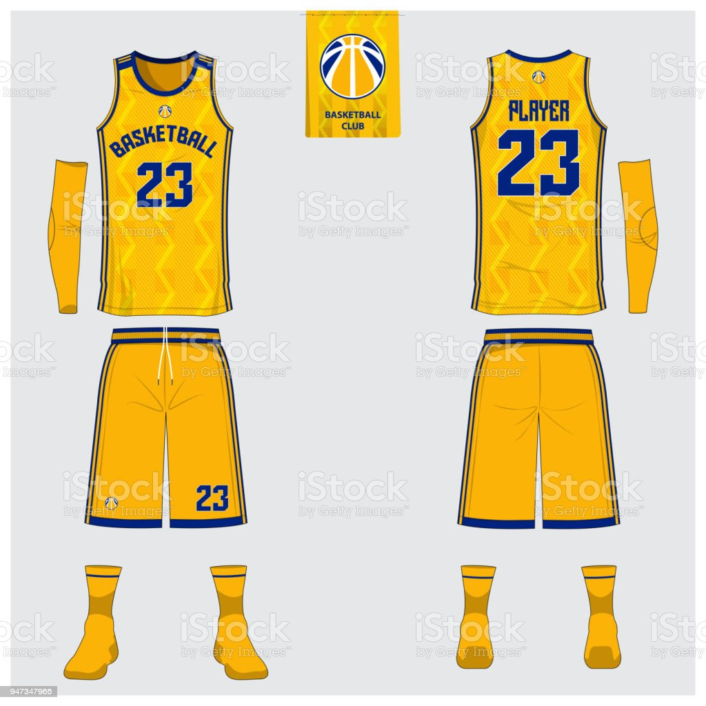 Yellow Basketball jersey or sport uniform template design for basketball club. Front and back view sport t-shirt design. Tank top t-shirt mock up with basketball flat   design. Vector vector art illustration