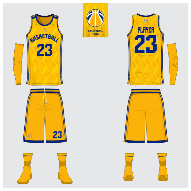 b78920fd398 Yellow Basketball jersey or sport uniform template design for basketball  club. Front and back view