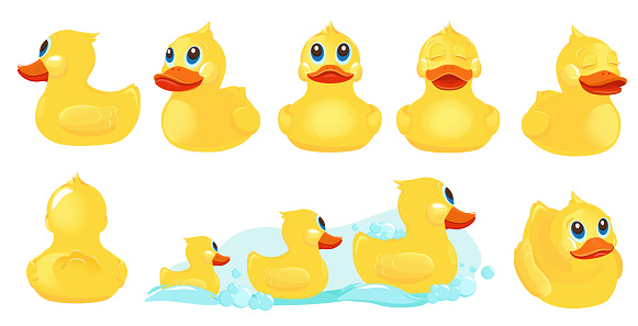 Yellow bath duck. Rubber water toys for kids shower room games with duck vector cute characters