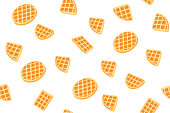 Yellow Belgian waffles seamless pattern for print design. Cartoon sweet vector illustration. Golden waffle slices on white background. Decorative Modern cookie cover. Snack Geometric shapes.