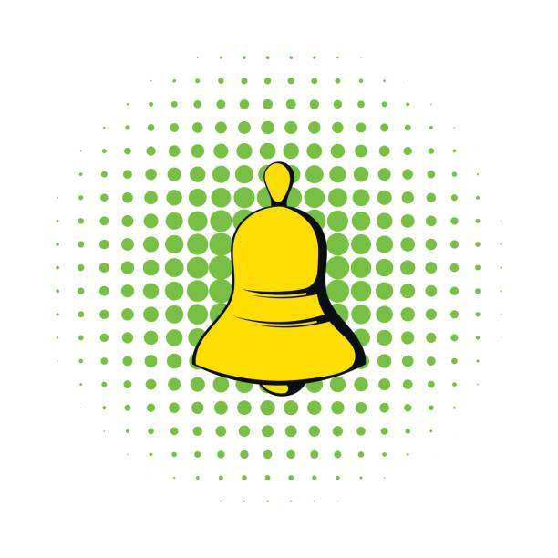 gelbe glockensymbol im comic-stil - kirchenschmuck stock-grafiken, -clipart, -cartoons und -symbole