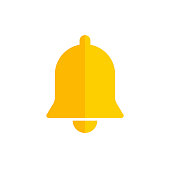 Yellow bell icon isolated. Decoration symbol. Christmas sign or alert design. Notification symbol. EPS 10