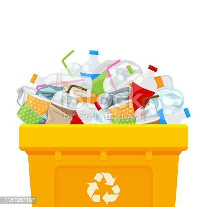 yellow bin full and plastic garbage waste isolated white square background, plastic waste dump on the bin, plastic waste on the bin separation for recycle conservation environmental, pollution garbage