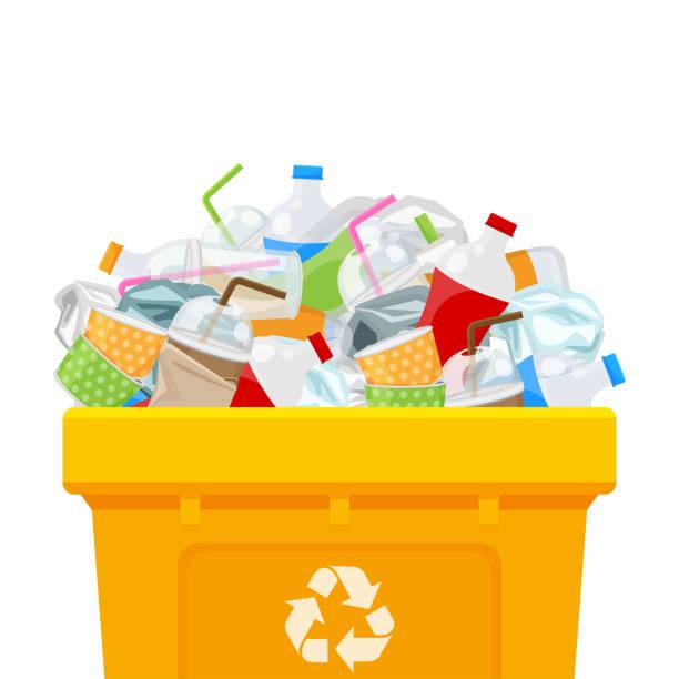 노란색 빈 전체 및 플라스틱 쓰레기 폐기물 고립 된 흰색 사각형 배경, 쓰레기통에 플라스틱 폐기물 덤프, 재활용 보존 환경, 오염 쓰레기에 대 한 bin 분리에 플라스틱 폐기물 - 플라스틱 stock illustrations