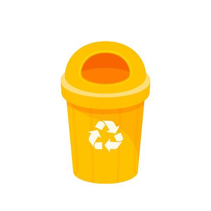 Gelber Mülleimer Isoliert Auf Weißem Hintergrund Clipart Von Papierkorb Klein Illustration Gelb Mülleimer Kunststoff Flache Ikone Mülleimer Abfall