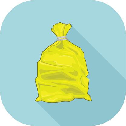 Yellow Bin Sack Icon.