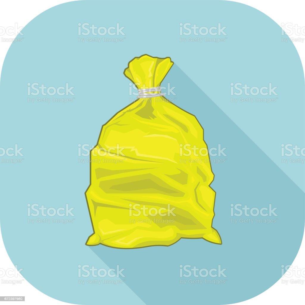 Yellow Bin Sack Icon. vector art illustration