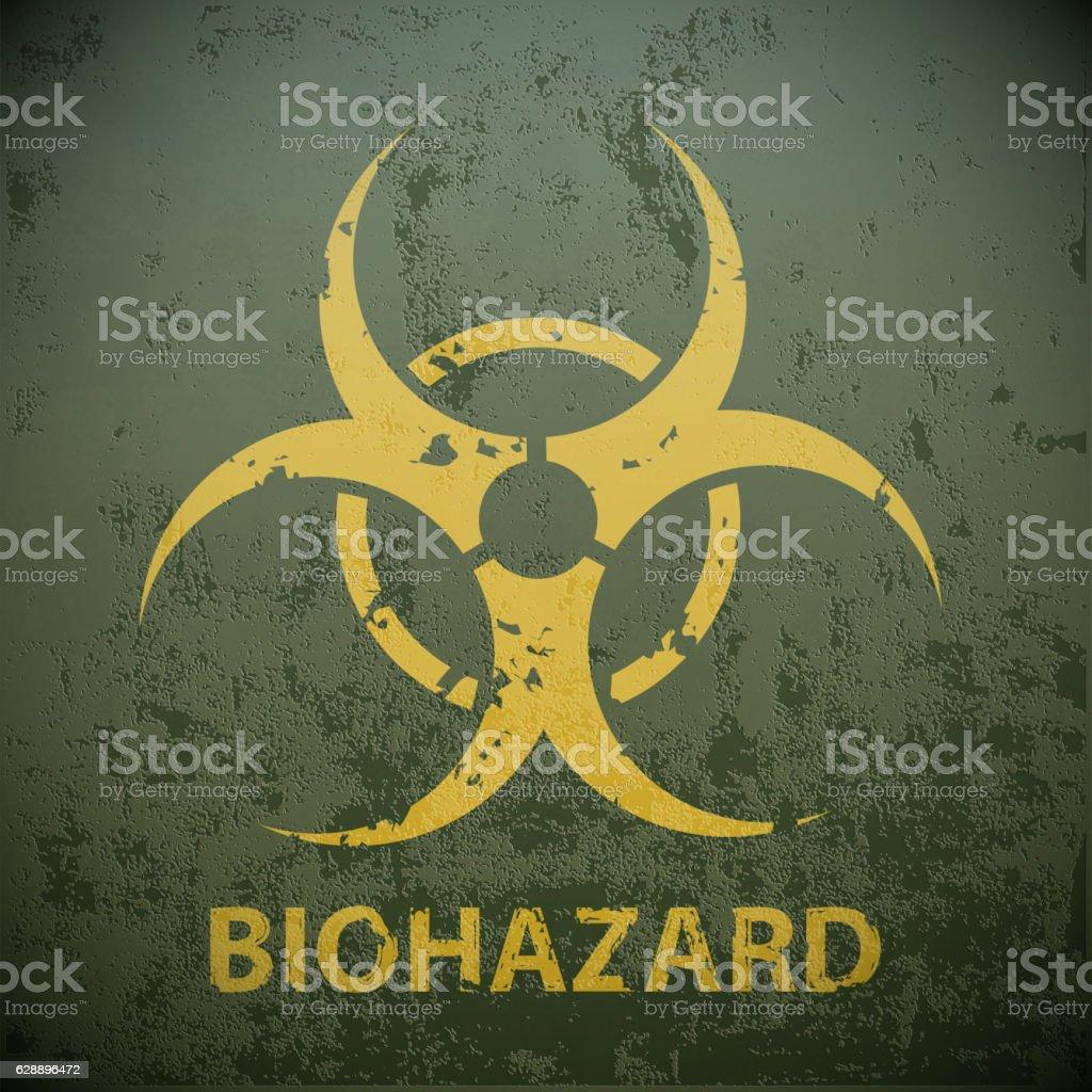 Yellow biohazard symbol on a green military background. vector art illustration