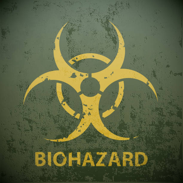 Yellow biohazard symbol on a green military background. Yellow biohazard symbol on a green military background. Warning of the dangers  in the region of epidemic. Stock vector illustration. biohazardous substance stock illustrations