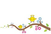Yellow bird cute flying to the island on a branch, vector illustration