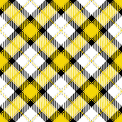 Yellow Black Argyle Scottish Tartan Plaid Textile Pattern