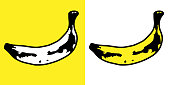 Vector illustration of bananas in a repeating pattern against a yellow background.