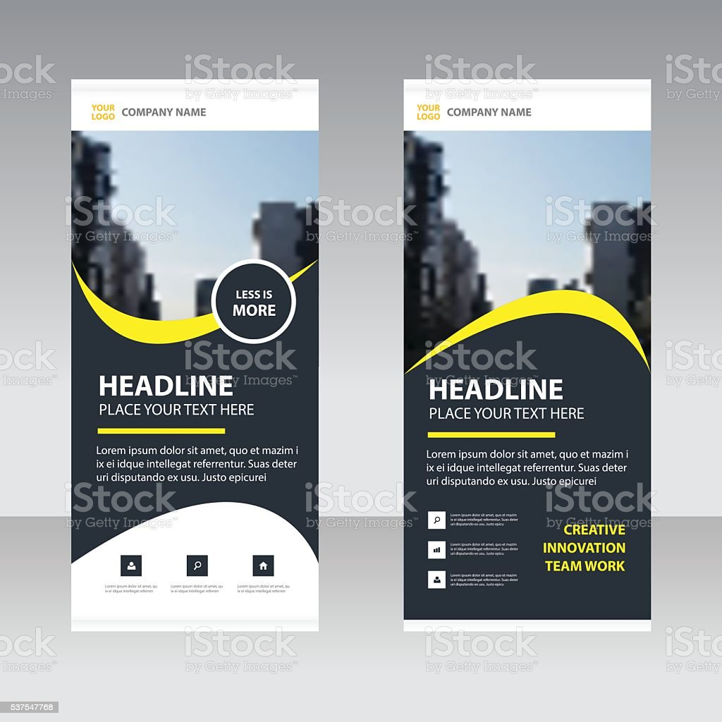 Yellow black Business Roll Up Banner flat design template vector art illustration