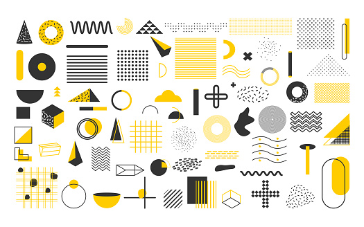 Yellow black geometric shape  vector set