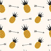 yellow black pineapple seamless pattern background illustration with arrows