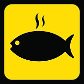 yellow, black sign - grilling fish with smoke icon