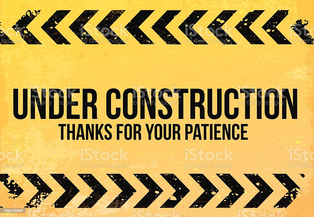 Yellow - black sign grunge 'Under Construction' vector illustration vector art illustration