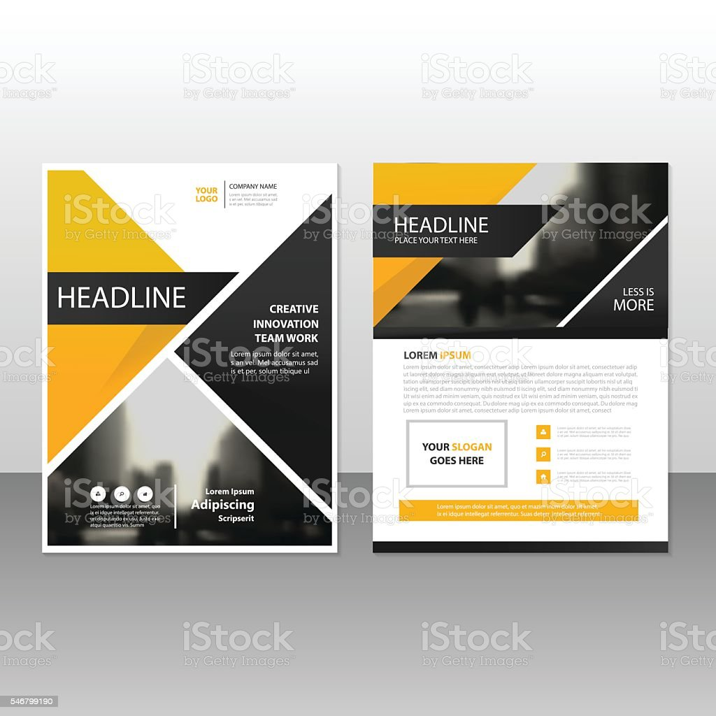 yellow black triangle annual report leaflet brochure flyer template