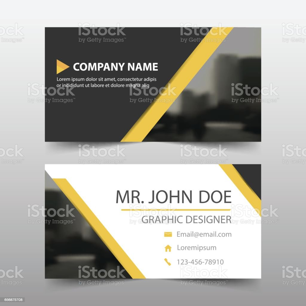 Yellow Black Triangle Corporate Business Card Name Card Template – Name Card