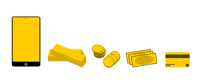 Yellow blank screen smart phone with gold bar, coins, bank, and credit cart in gold color on white background. Finance and money concept with free copy space.