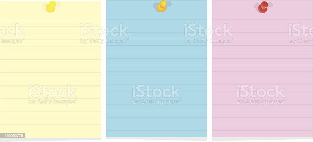 Yellow, blue and pink paper notes with thumbtacks royalty-free stock vector art